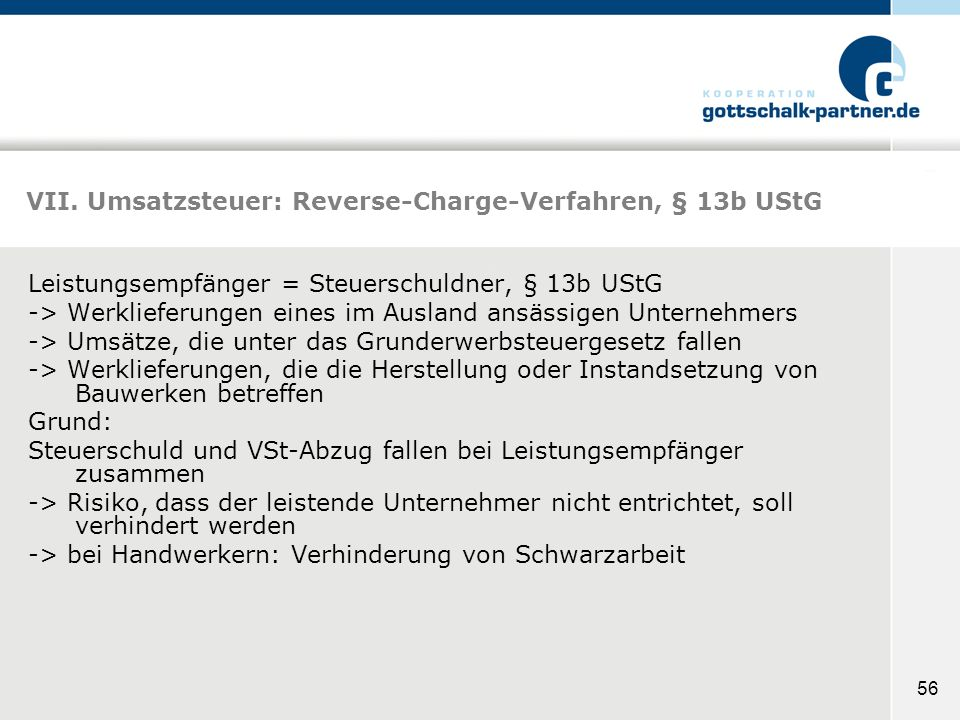 VII. Umsatzsteuer: Reverse-Charge-Verfahren, § 13b UStG