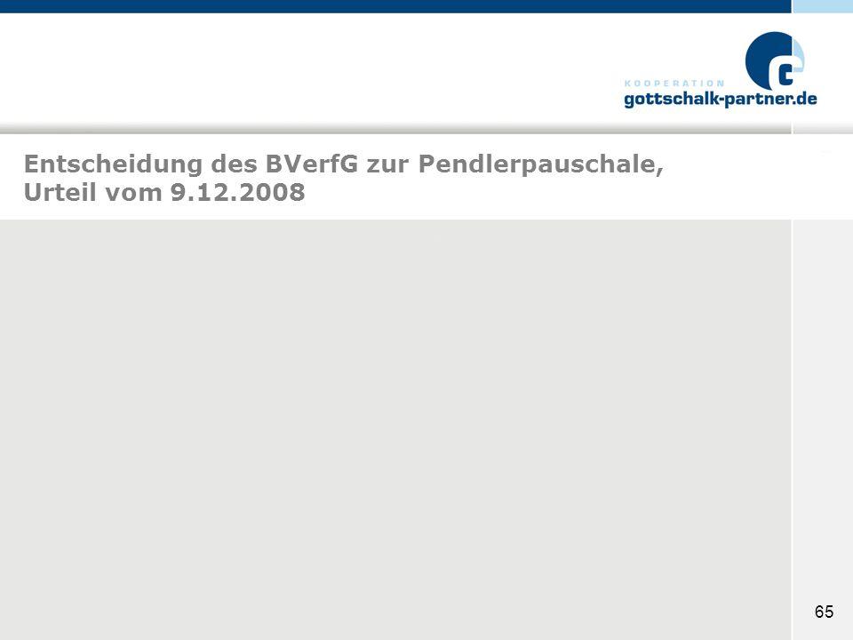 Entscheidung des BVerfG zur Pendlerpauschale, Urteil vom 9.12.2008