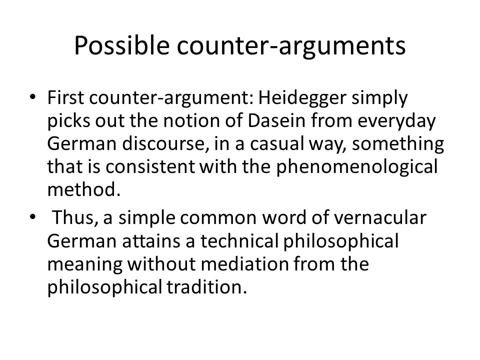 Possible counter-arguments
