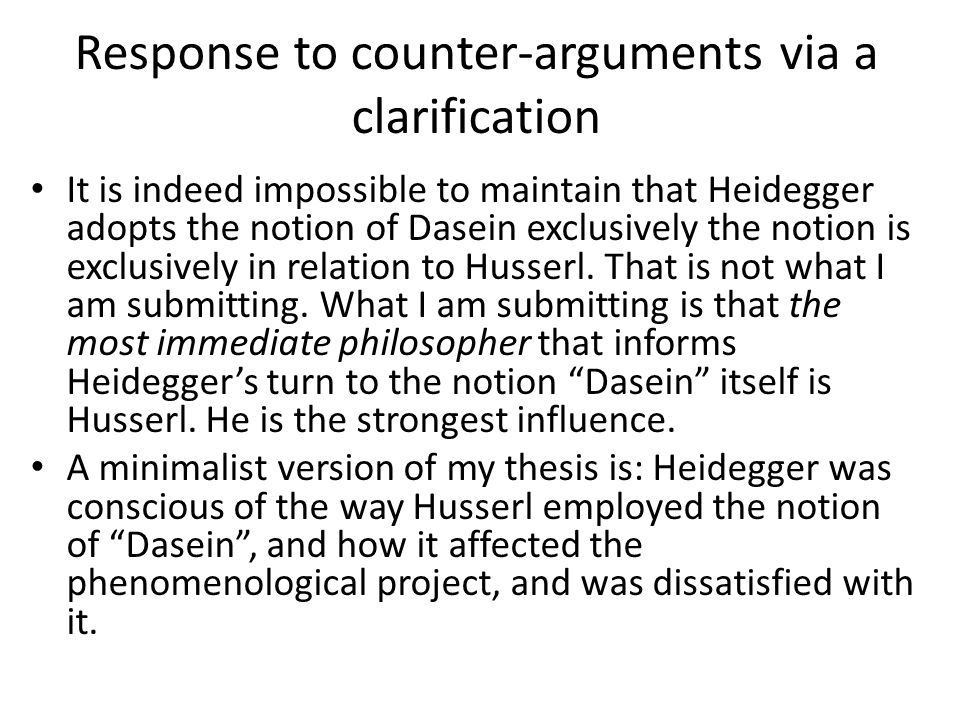 Response to counter-arguments via a clarification