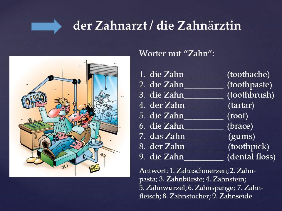 der Zahnarzt / die Zahnärztin