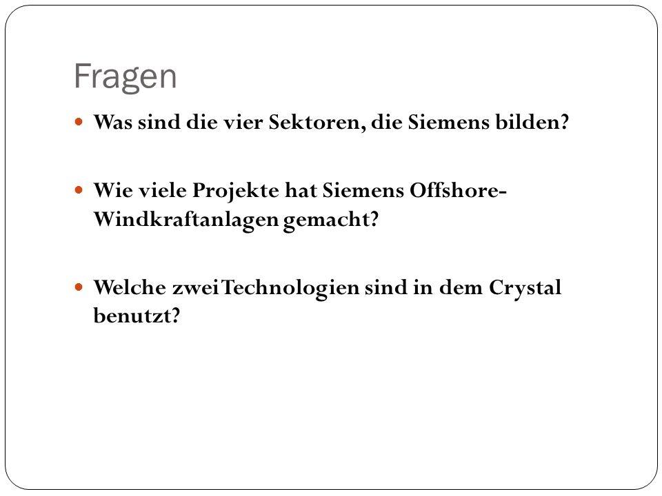 Fragen Was sind die vier Sektoren, die Siemens bilden
