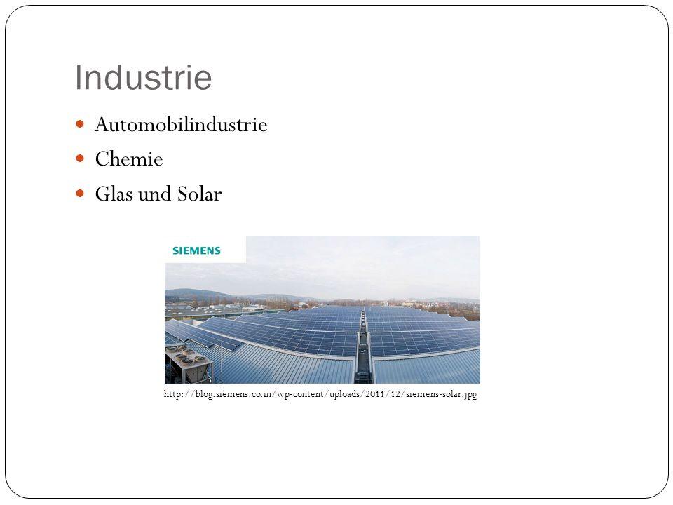 Industrie Automobilindustrie Chemie Glas und Solar