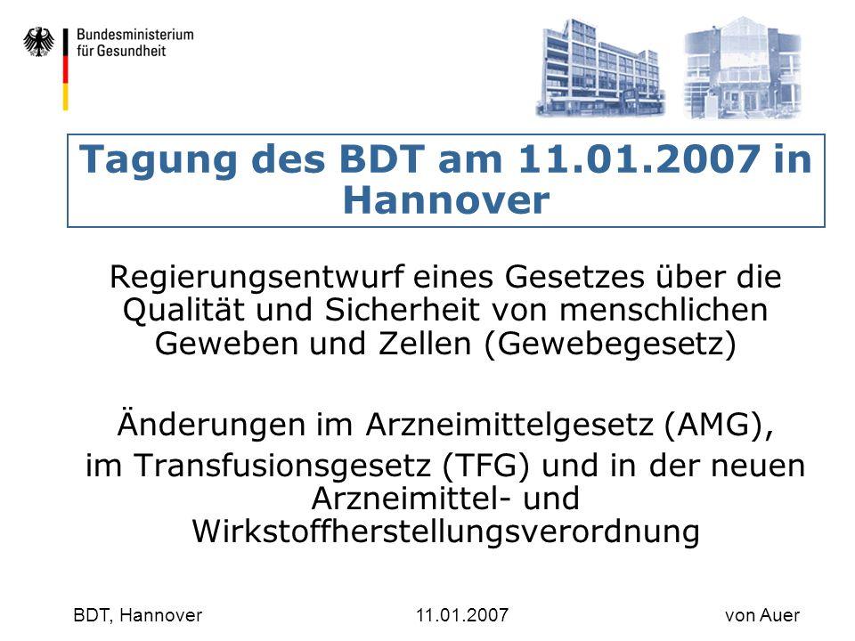Tagung des BDT am 11.01.2007 in Hannover