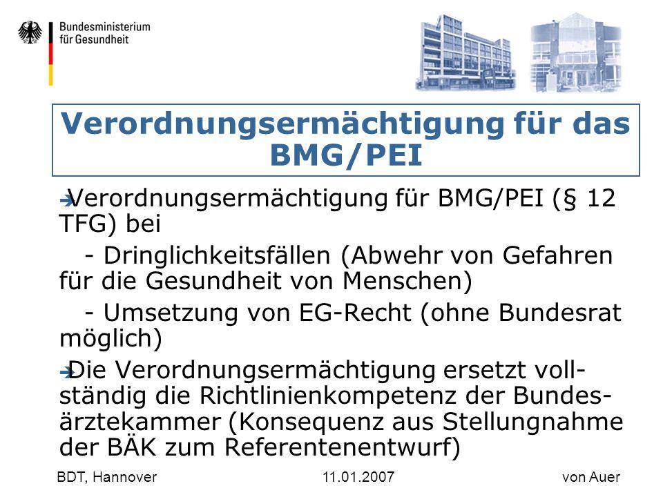 Verordnungsermächtigung für das BMG/PEI