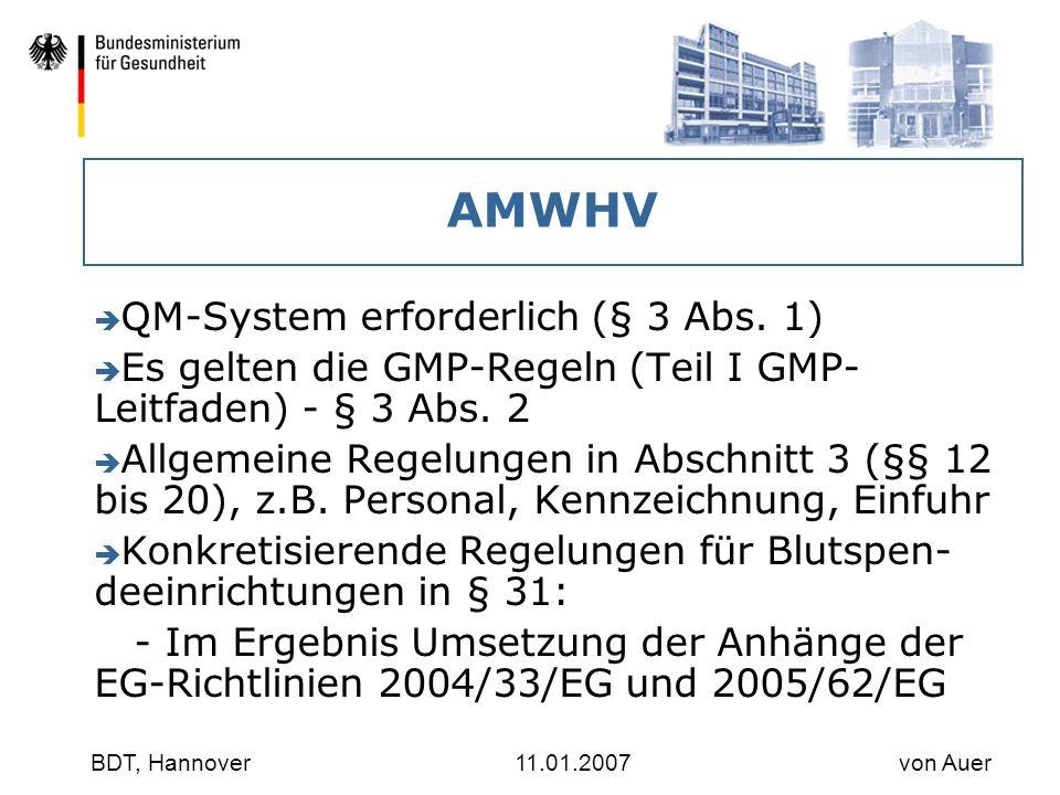 AMWHV QM-System erforderlich (§ 3 Abs. 1)