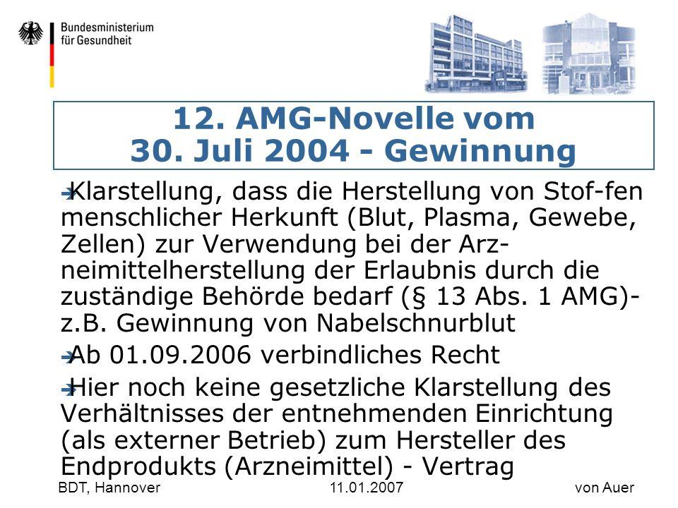 12. AMG-Novelle vom 30. Juli 2004 - Gewinnung