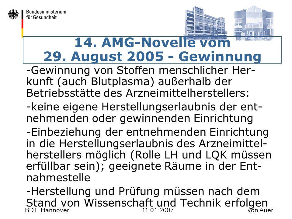 14. AMG-Novelle vom 29. August 2005 - Gewinnung