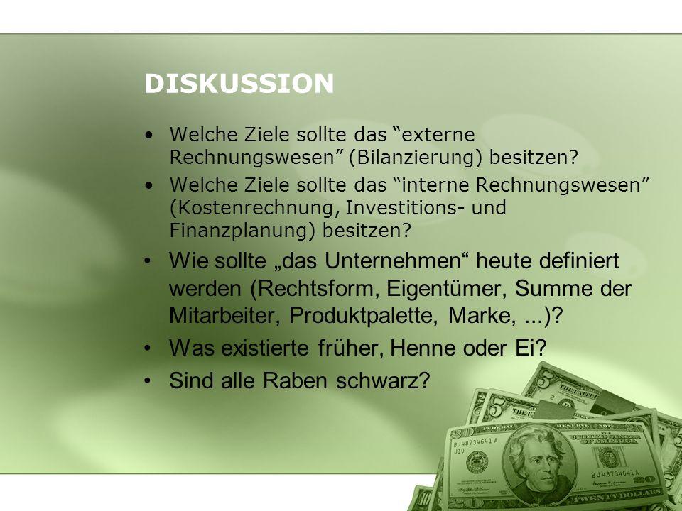 DISKUSSION Welche Ziele sollte das externe Rechnungswesen (Bilanzierung) besitzen