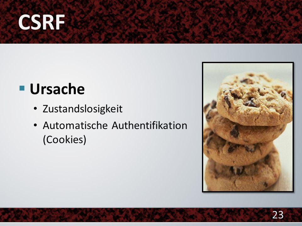 CSRF Ursache Zustandslosigkeit Automatische Authentifikation (Cookies)