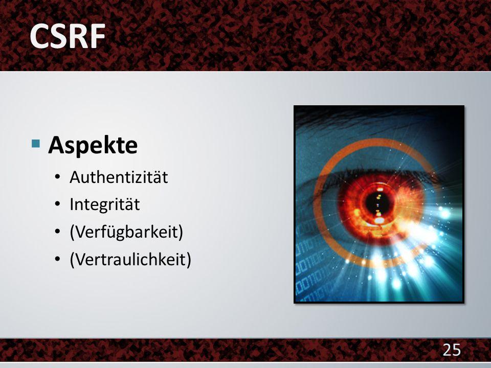 CSRF Aspekte Authentizität Integrität (Verfügbarkeit)