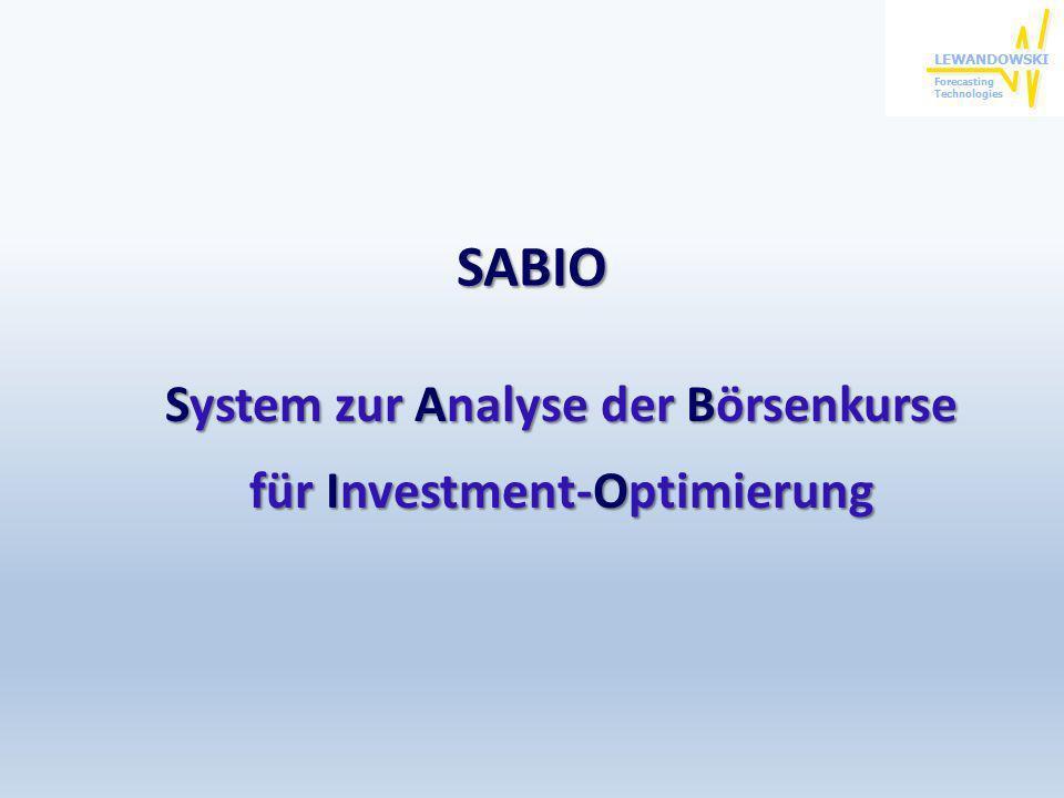 System zur Analyse der Börsenkurse für Investment-Optimierung