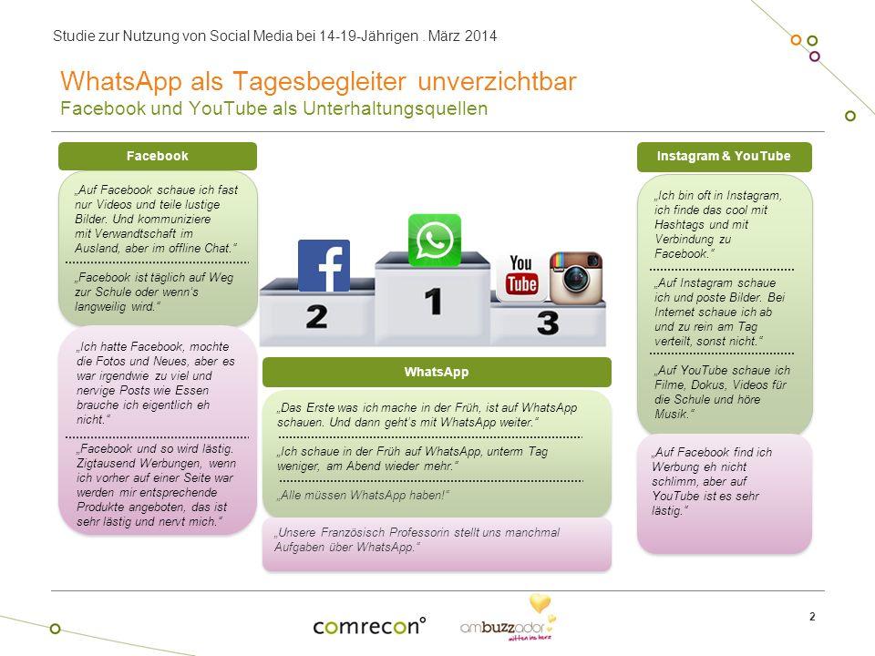 WhatsApp als Tagesbegleiter unverzichtbar Facebook und YouTube als Unterhaltungsquellen