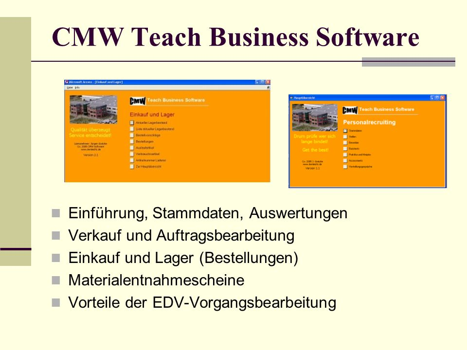 CMW Teach Business Software