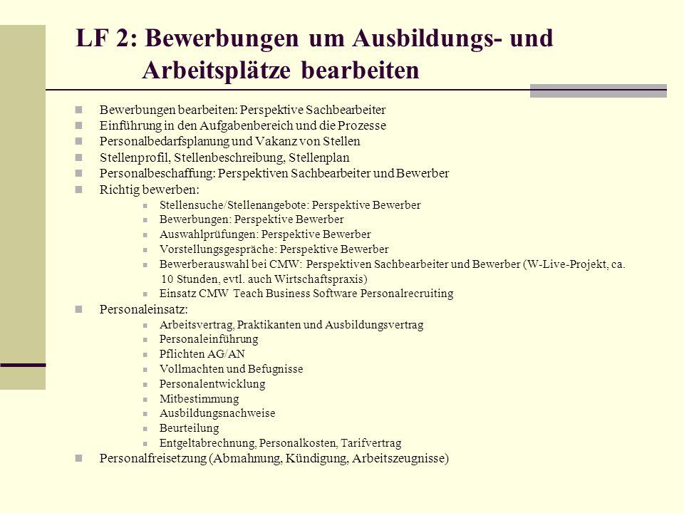 LF 2: Bewerbungen um Ausbildungs- und Arbeitsplätze bearbeiten