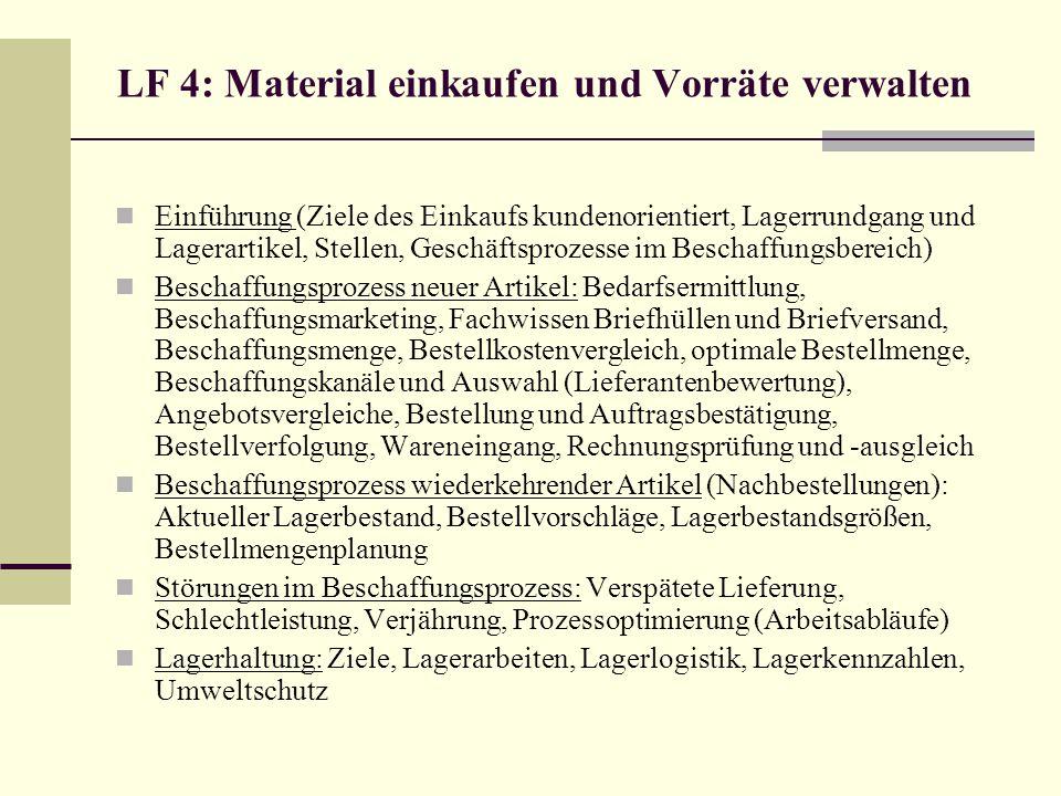 LF 4: Material einkaufen und Vorräte verwalten