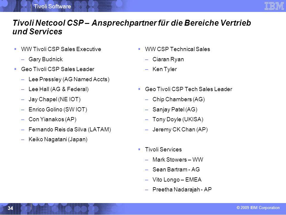 Tivoli Netcool CSP – Ansprechpartner für die Bereiche Vertrieb und Services