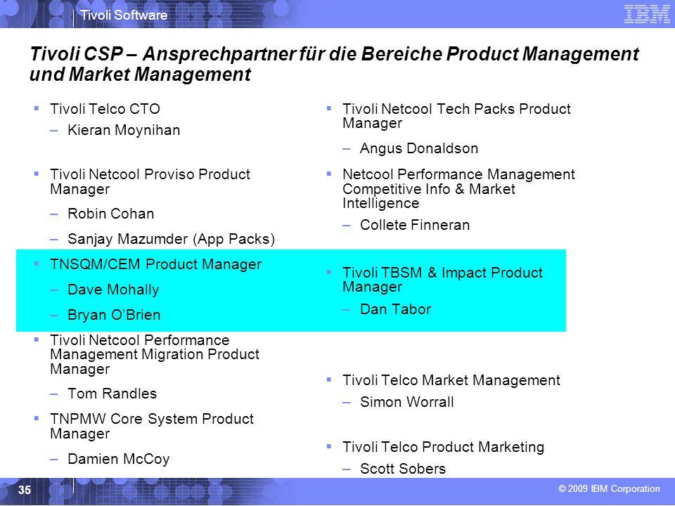 Tivoli CSP – Ansprechpartner für die Bereiche Product Management und Market Management