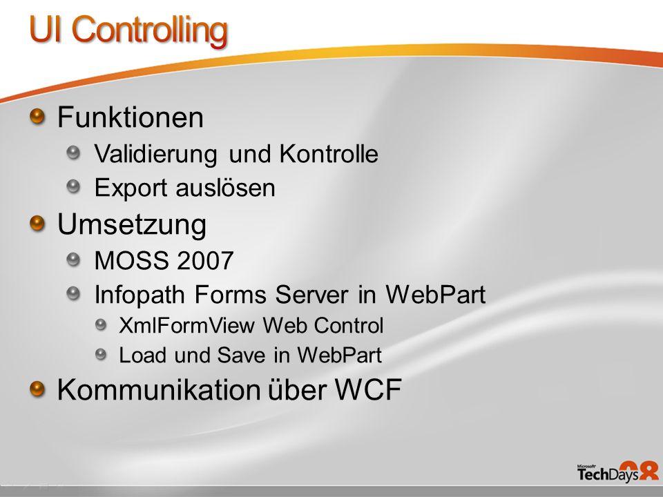 UI Controlling Funktionen Umsetzung Kommunikation über WCF