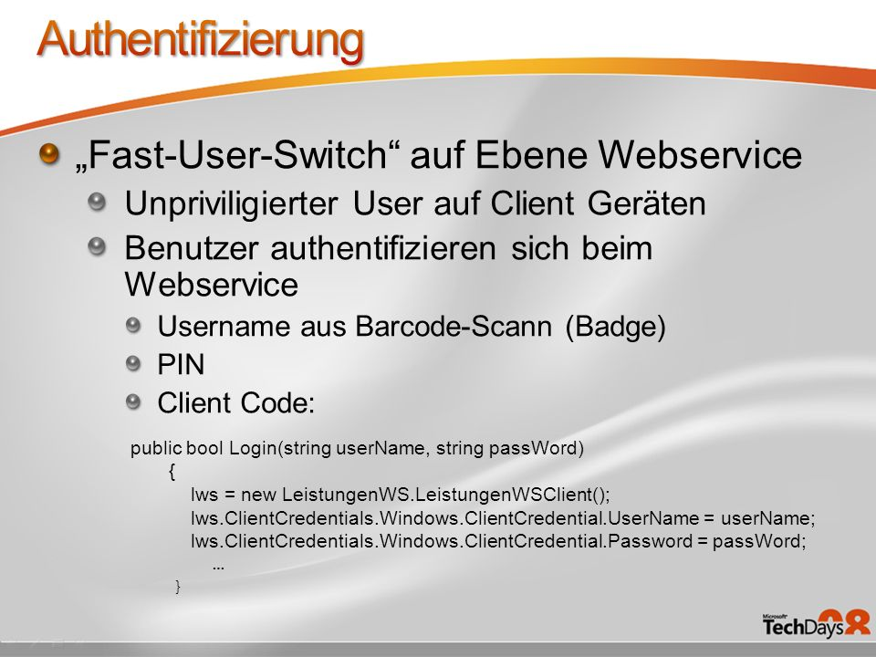 "Authentifizierung ""Fast-User-Switch auf Ebene Webservice"