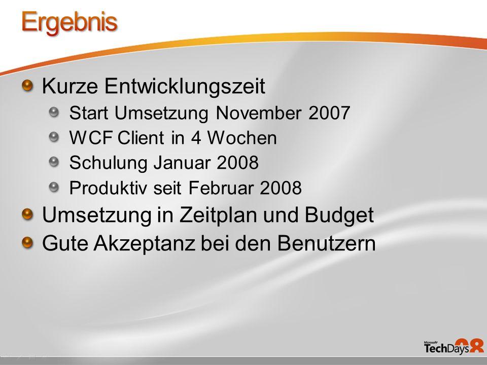 Ergebnis Kurze Entwicklungszeit Umsetzung in Zeitplan und Budget