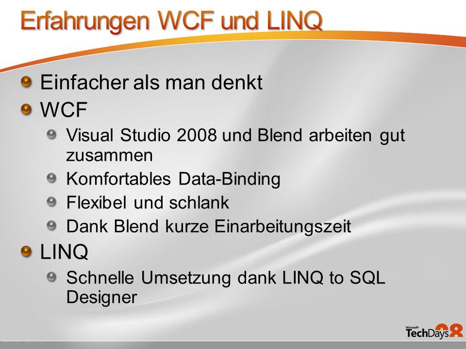 Erfahrungen WCF und LINQ