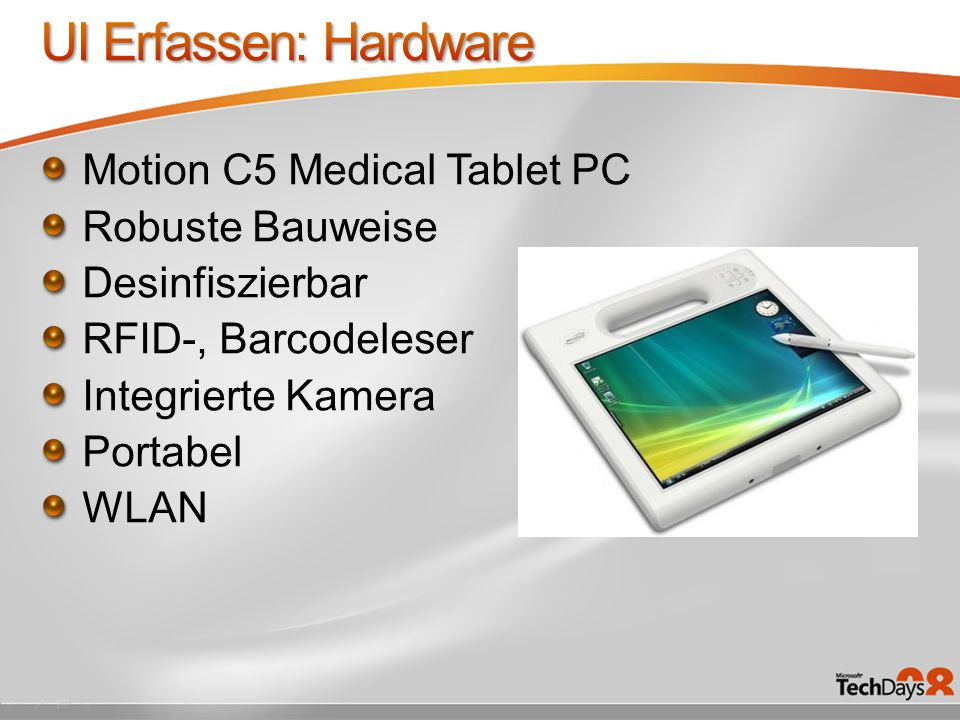 UI Erfassen: Hardware Motion C5 Medical Tablet PC Robuste Bauweise