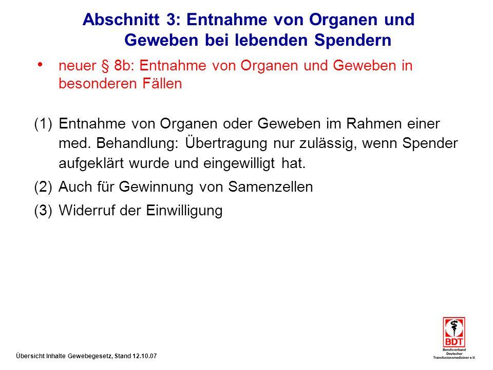 Abschnitt 3: Entnahme von Organen und Geweben bei lebenden Spendern