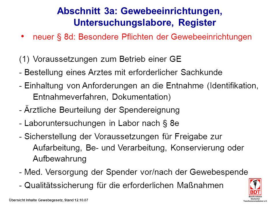 Abschnitt 3a: Gewebeeinrichtungen, Untersuchungslabore, Register