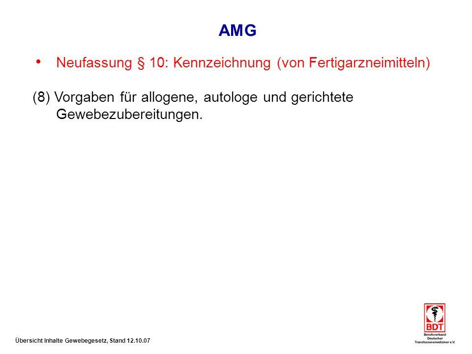 AMG Neufassung § 10: Kennzeichnung (von Fertigarzneimitteln)
