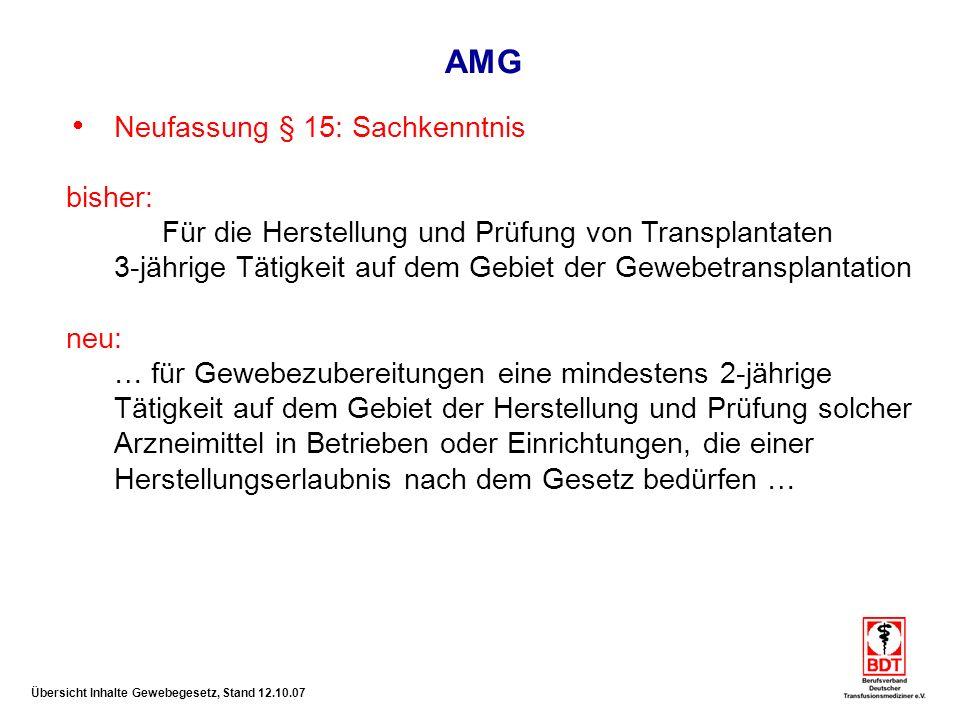 AMG Neufassung § 15: Sachkenntnis bisher: