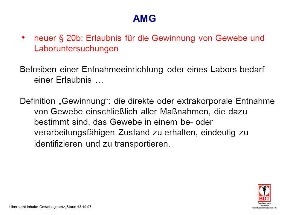 AMG neuer § 20b: Erlaubnis für die Gewinnung von Gewebe und Laboruntersuchungen.