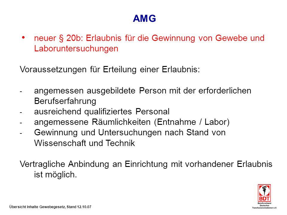 AMG neuer § 20b: Erlaubnis für die Gewinnung von Gewebe und Laboruntersuchungen. Voraussetzungen für Erteilung einer Erlaubnis: