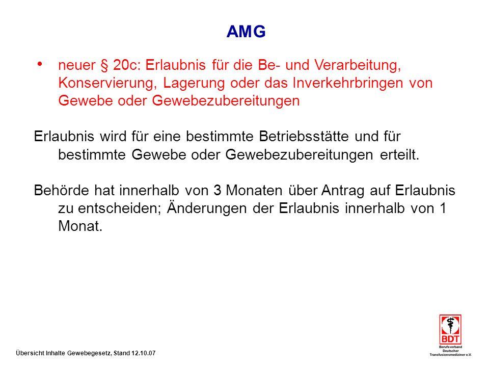 AMG neuer § 20c: Erlaubnis für die Be- und Verarbeitung, Konservierung, Lagerung oder das Inverkehrbringen von Gewebe oder Gewebezubereitungen.