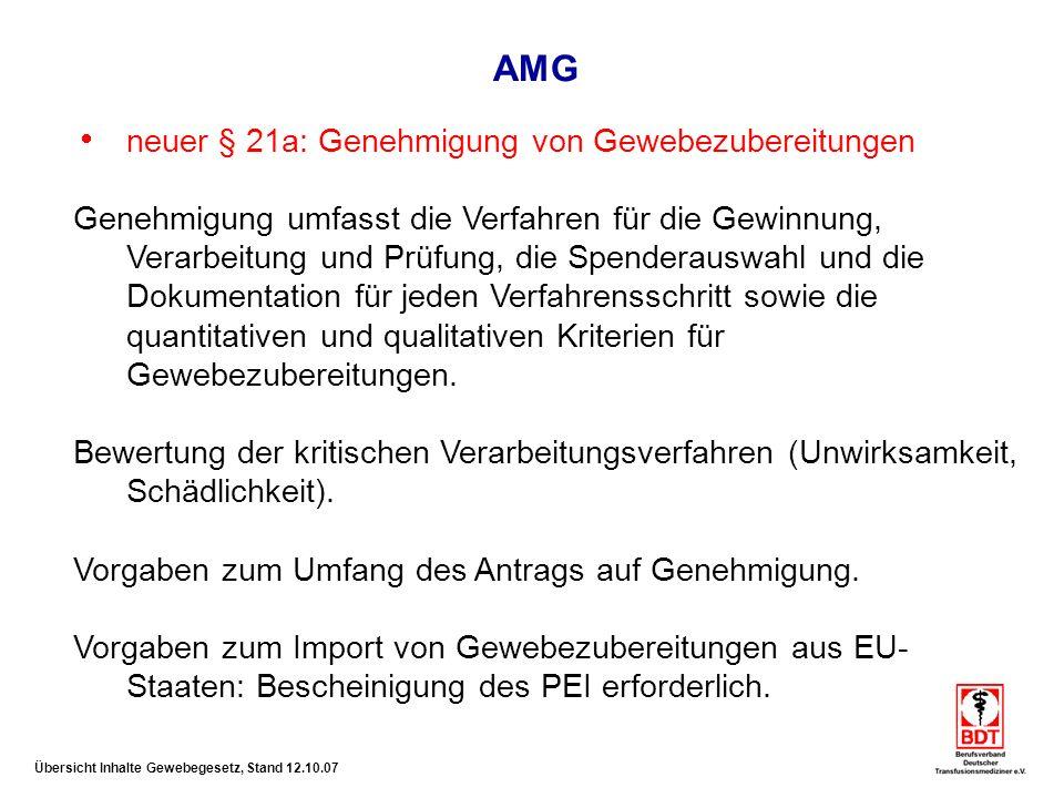AMG neuer § 21a: Genehmigung von Gewebezubereitungen