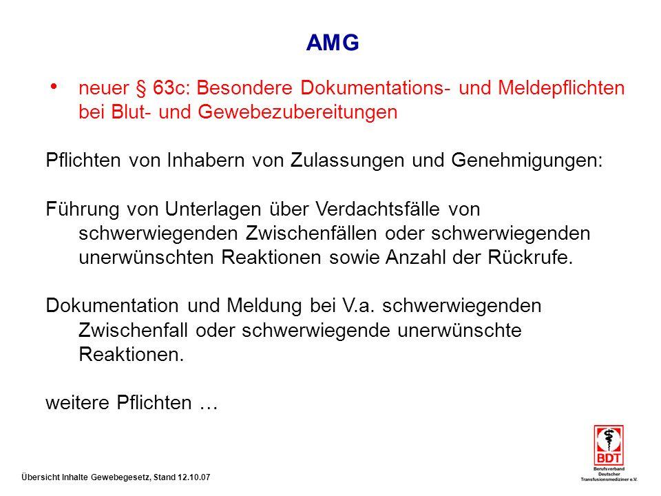 AMG neuer § 63c: Besondere Dokumentations- und Meldepflichten bei Blut- und Gewebezubereitungen.