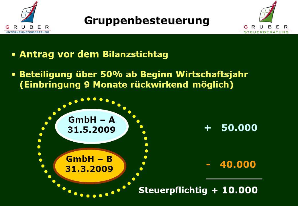 Gruppenbesteuerung Antrag vor dem Bilanzstichtag