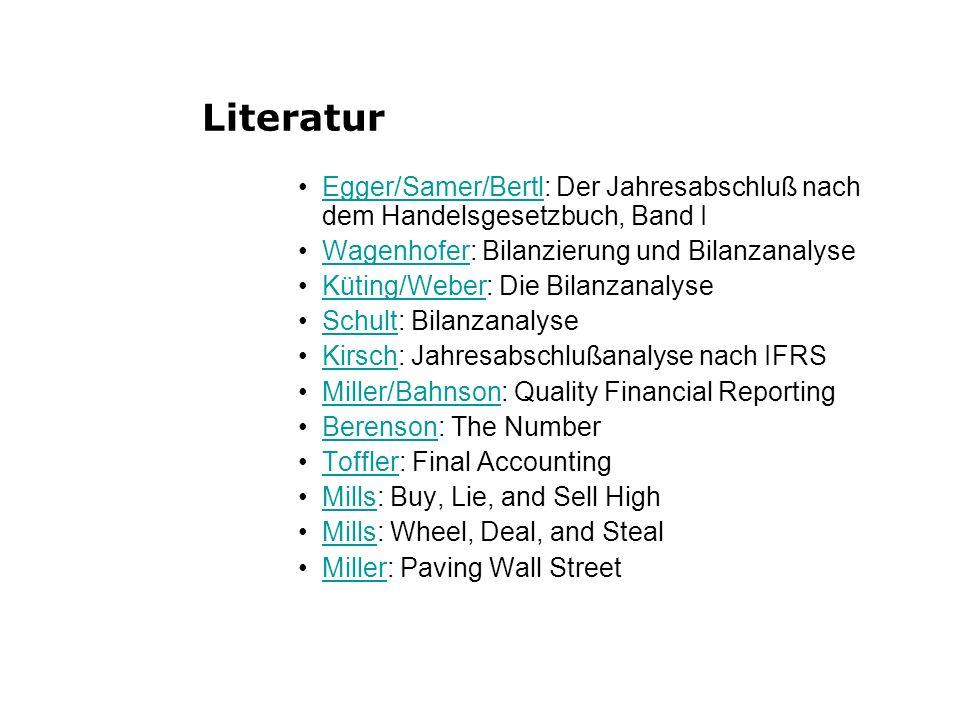 LiteraturS HERE Egger/Samer/Bertl: Der Jahresabschluß nach dem Handelsgesetzbuch, Band I. Wagenhofer: Bilanzierung und Bilanzanalyse.