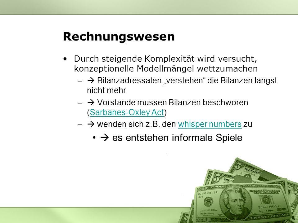 Rechnungswesen  es entstehen informale Spiele