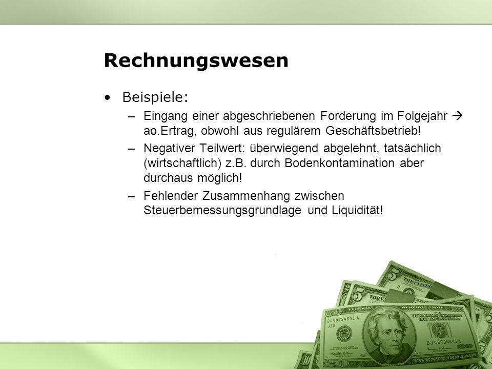 Rechnungswesen Beispiele: