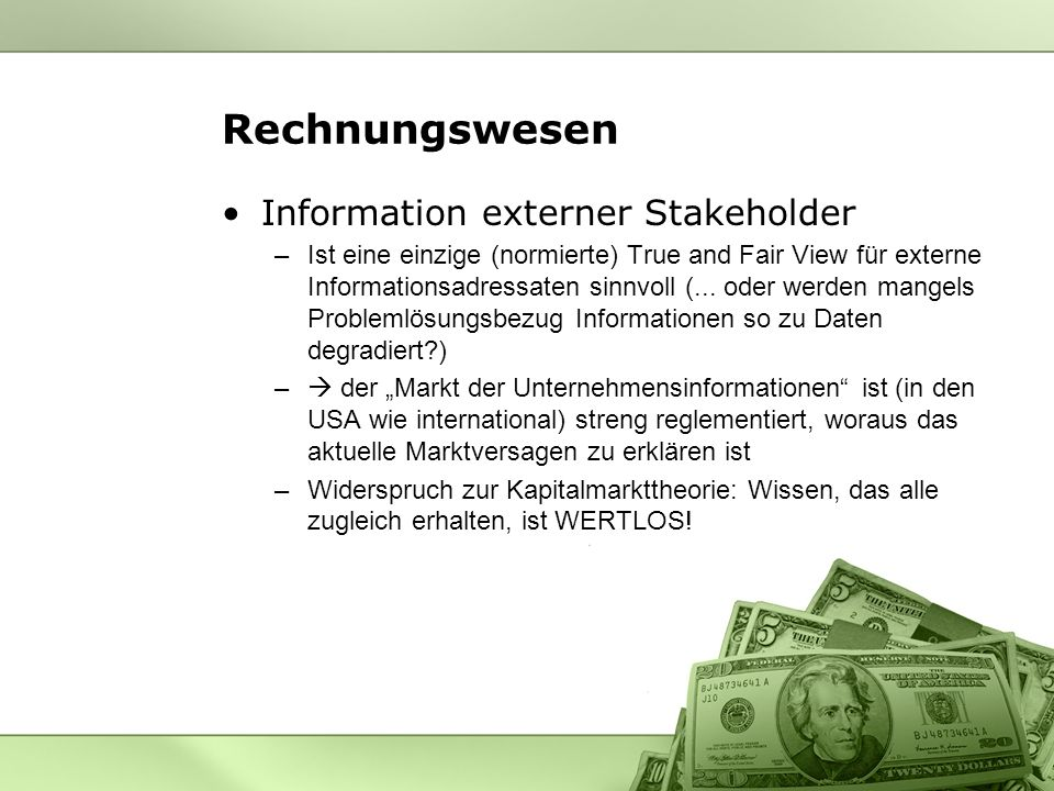 Rechnungswesen Information externer Stakeholder