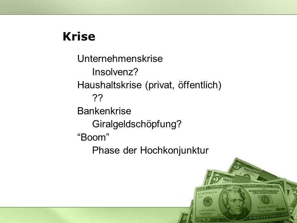 Krise Unternehmenskrise Insolvenz Haushaltskrise (privat, öffentlich)