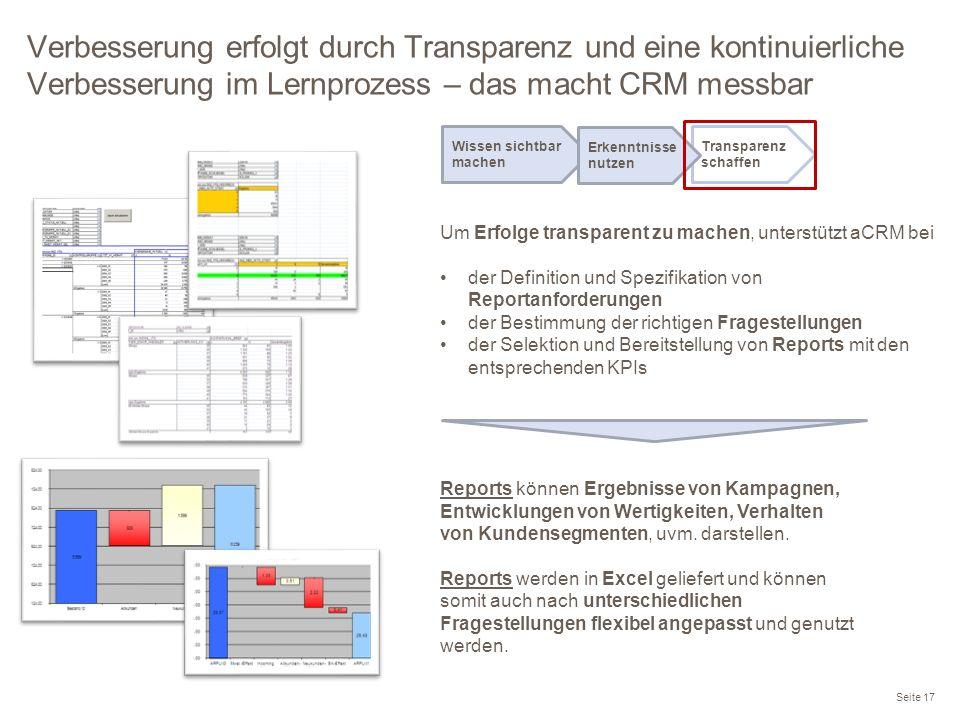 Verbesserung erfolgt durch Transparenz und eine kontinuierliche Verbesserung im Lernprozess – das macht CRM messbar