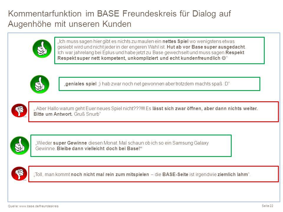Kommentarfunktion im BASE Freundeskreis für Dialog auf Augenhöhe mit unseren Kunden