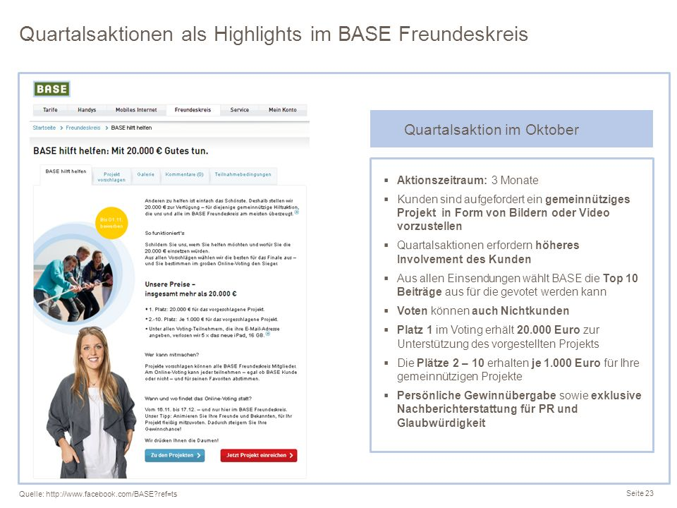 Quartalsaktionen als Highlights im BASE Freundeskreis