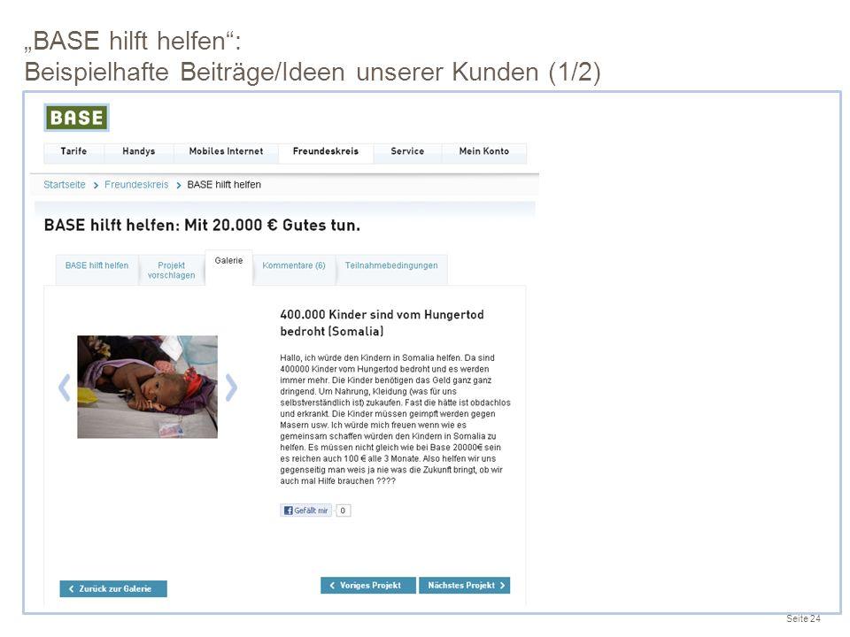 """""""BASE hilft helfen : Beispielhafte Beiträge/Ideen unserer Kunden (1/2)"""