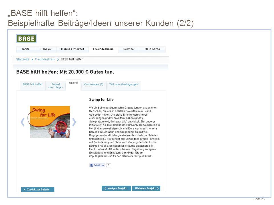 """""""BASE hilft helfen : Beispielhafte Beiträge/Ideen unserer Kunden (2/2)"""