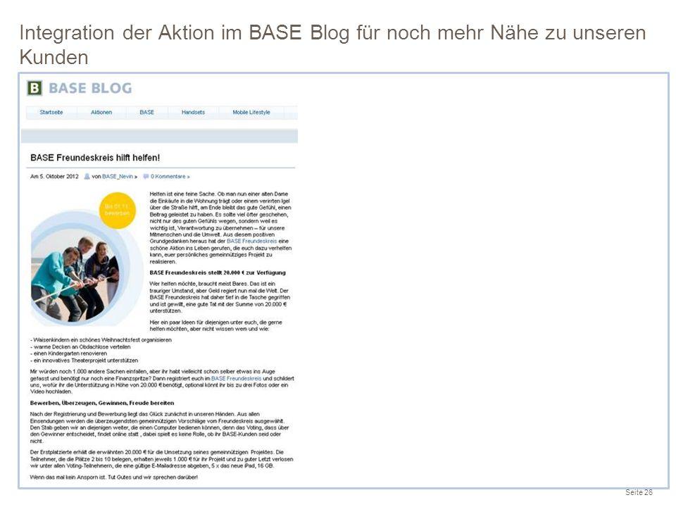 Integration der Aktion im BASE Blog für noch mehr Nähe zu unseren Kunden