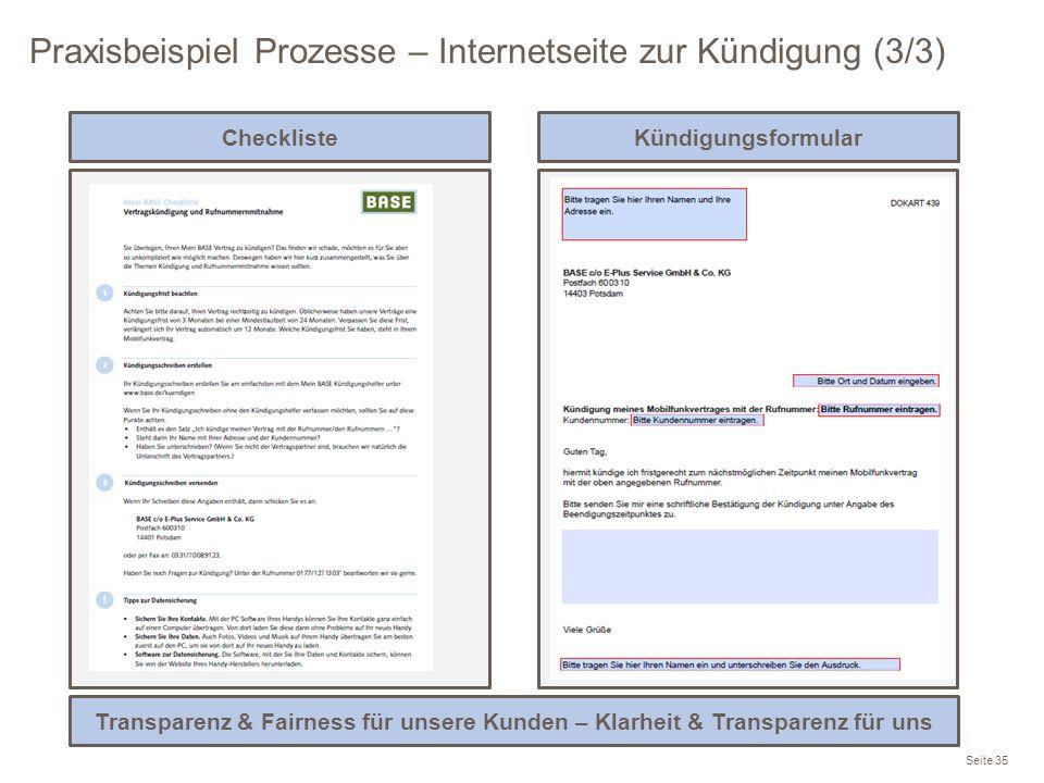 Praxisbeispiel Prozesse – Internetseite zur Kündigung (3/3)